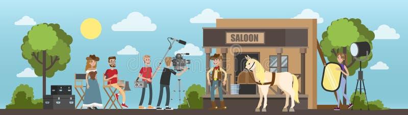 Het schieten van westelijke film met cowboy bij de zaal stock illustratie