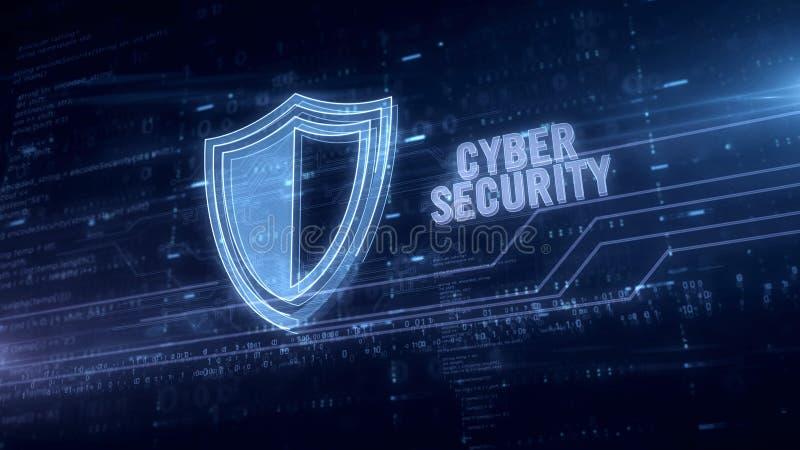 Het schild blauw hologram van de Cyberveiligheid stock illustratie