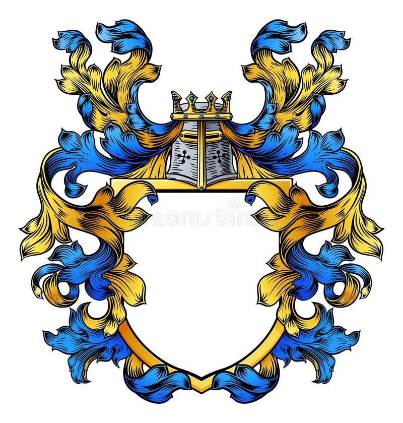 Het Schild van Crest Heraldic Family van de wapenschildridder stock illustratie