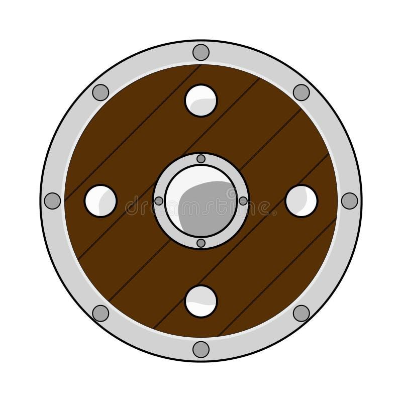 Het Schild van de beeldverhaalcirkel op witte achtergrond wordt geïsoleerd die Riddermateriaal Avonturenpunten Vectorillustratie  vector illustratie