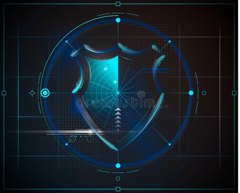Het schild van de Cyberveiligheid met digitale gegevensachtergrond Geïsoleerde achtergrond Vector illustratie vector illustratie