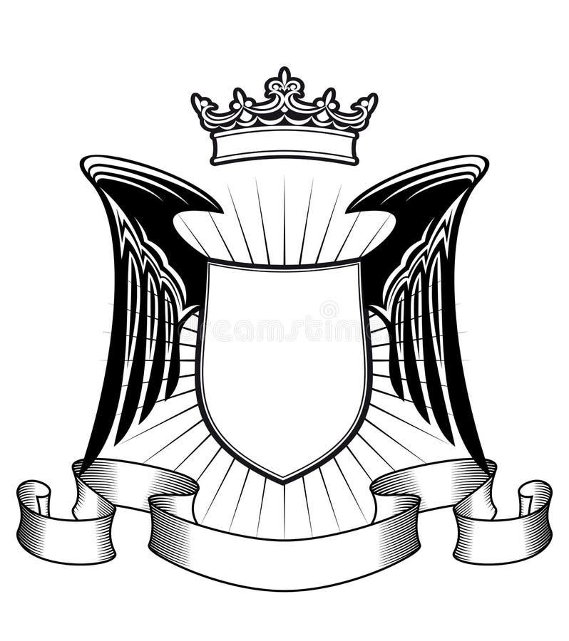 Het schild van de wapenkunde met engelenvleugels royalty-vrije illustratie