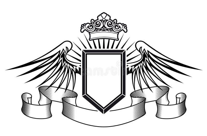 Het schild van de wapenkunde met engelenvleugels stock illustratie