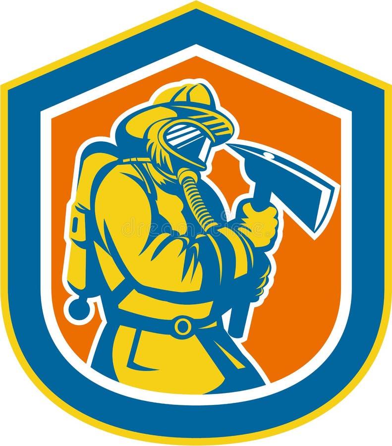 Het Schild van Holding Fire Axe van de brandweermanbrandbestrijder vector illustratie