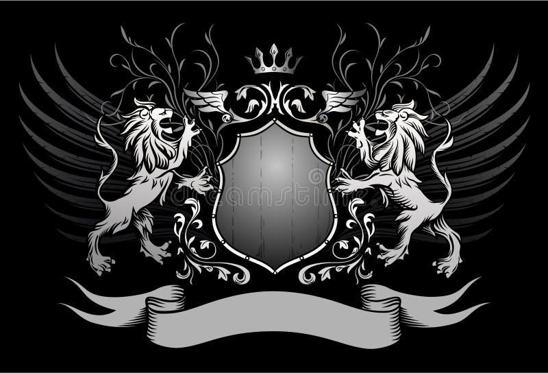 Het Schild van leeuwen en de Gevleugelde Insignes van de Kroon stock illustratie