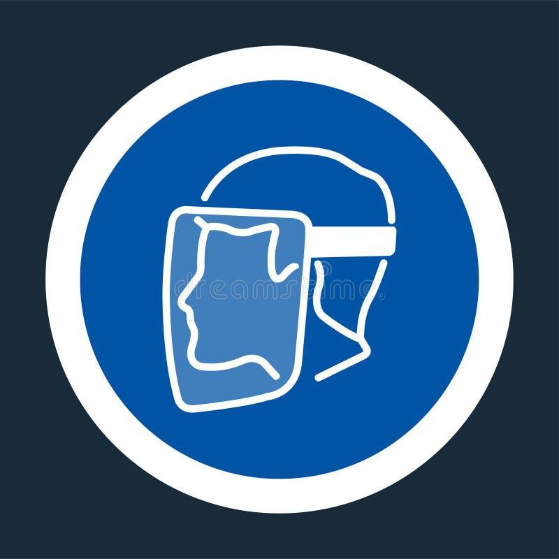 Het Schild van het symboolgezicht moet Versleten teken op zwarte achtergrond zijn stock illustratie