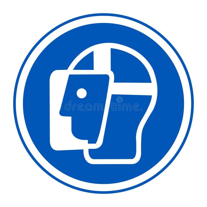 Het Schild van het symboolgezicht moet Versleten Teken zijn isoleert op Witte Achtergrond, Vectorillustratie EPS 10 royalty-vrije illustratie