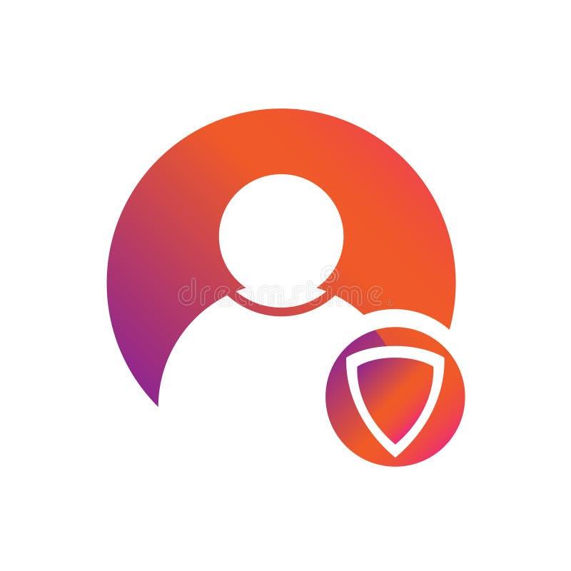 Het Schild vectorpictogram van de gebruikersbescherming stock illustratie