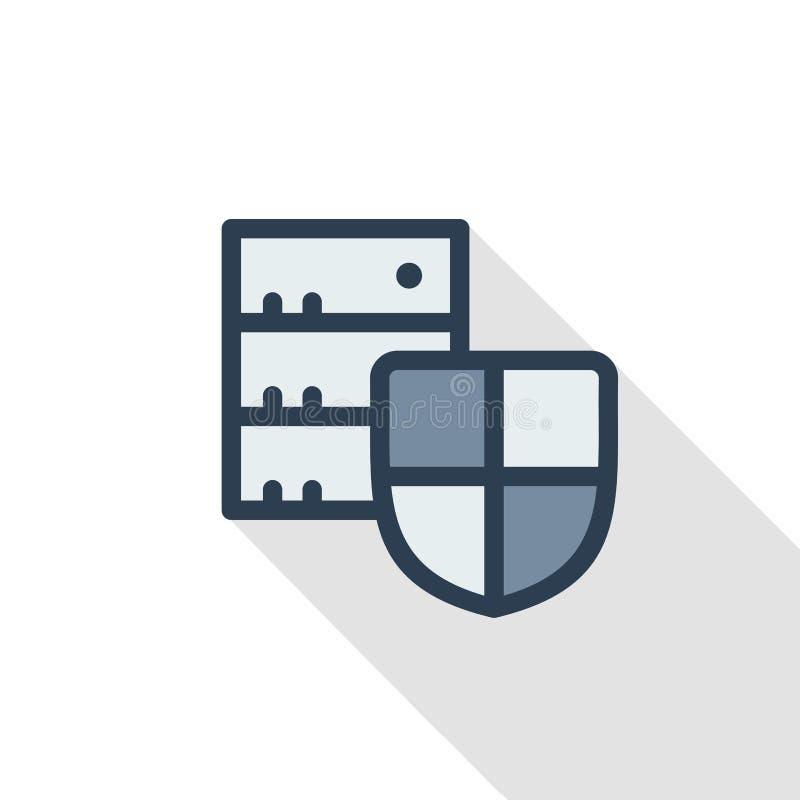 Het schild, veiligheid, bescherming met gegevens centreert, vlak de kleurenpictogram van de server dun lijn Lineair vectorsymbool stock illustratie