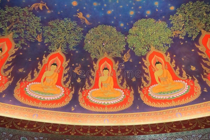 Het schilderen binnenland van Buddhas in Wat Paknam, Thailand royalty-vrije stock afbeeldingen