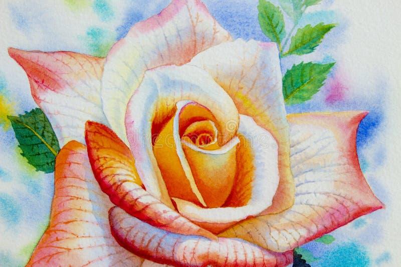 Het schilderen bloem oranje roze kleur van rozen royalty-vrije illustratie