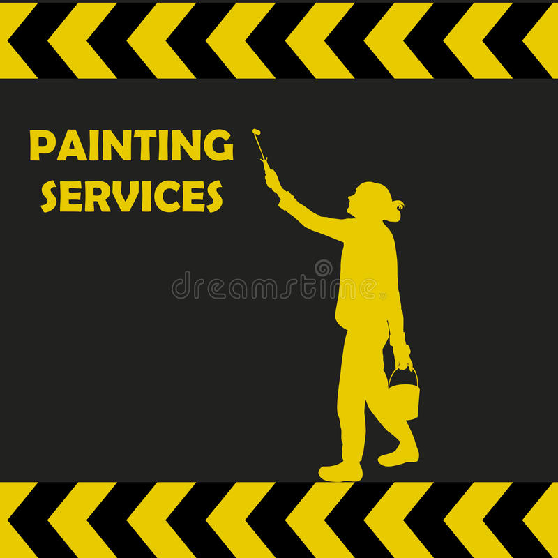 Het schilderen de dienstenachtergrond met vrouwensilhouet het schilderen vector illustratie