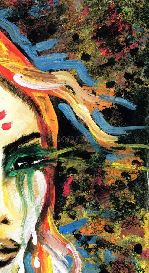 Het schilderen detail met het oog van de vrouw vector illustratie