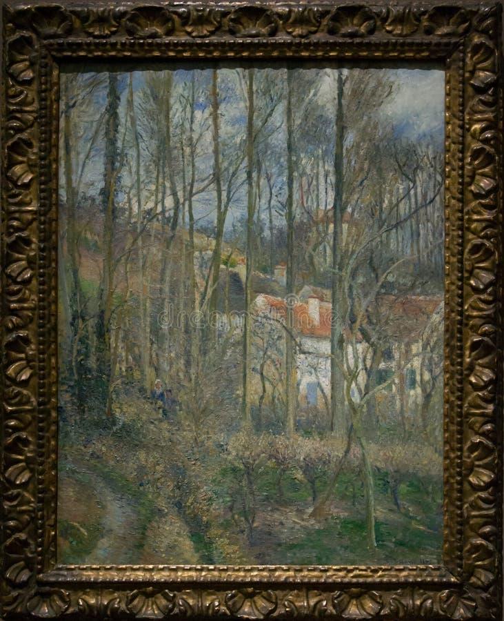 Het schilderen door Camille Pissarro in het National Gallery in Londen stock afbeelding