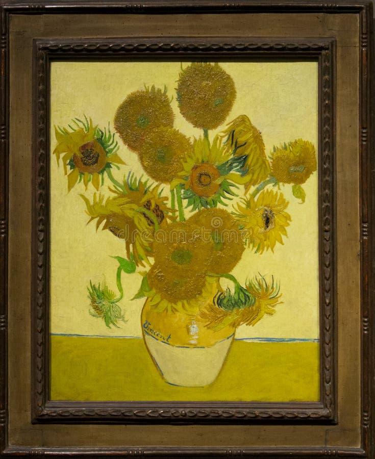 Het schilderen door Vincent van Gogh in het National Gallery in Londen stock afbeeldingen