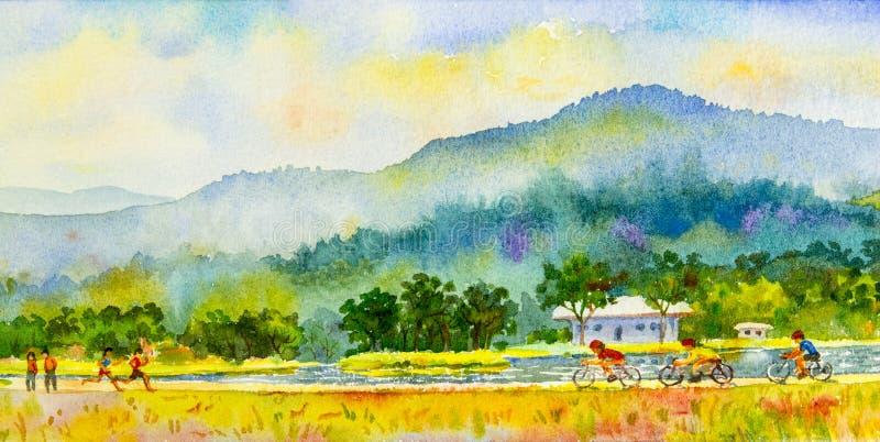 Het schilderen familiegeschiktheid door ritfiets en looppas in kleurrijk stock illustratie