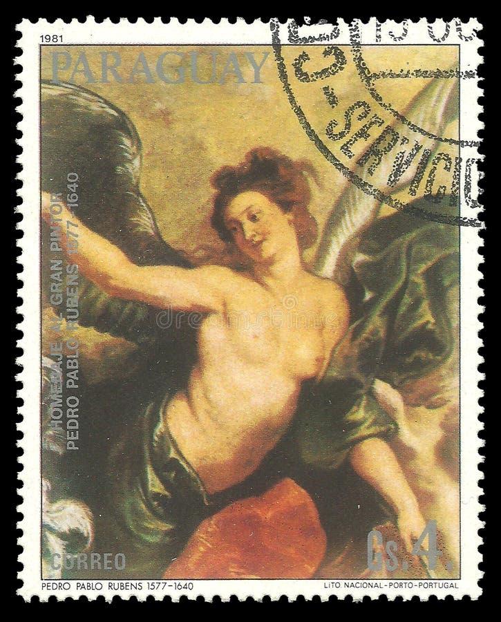 Het schilderen freskodetails met vrouw door Rubens stock afbeelding