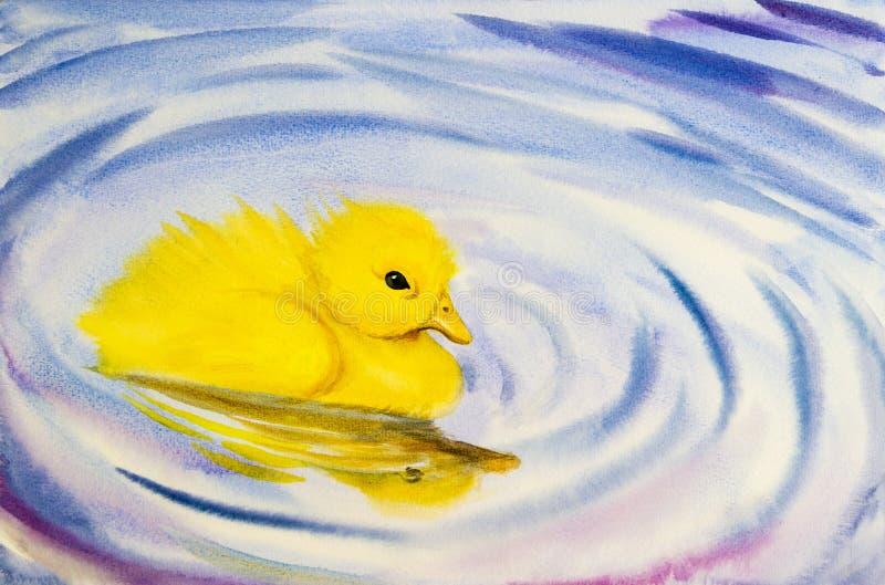 Het schilderen het landschaps originele kleurrijk van de kunstwaterverf van weinig gele eend vector illustratie