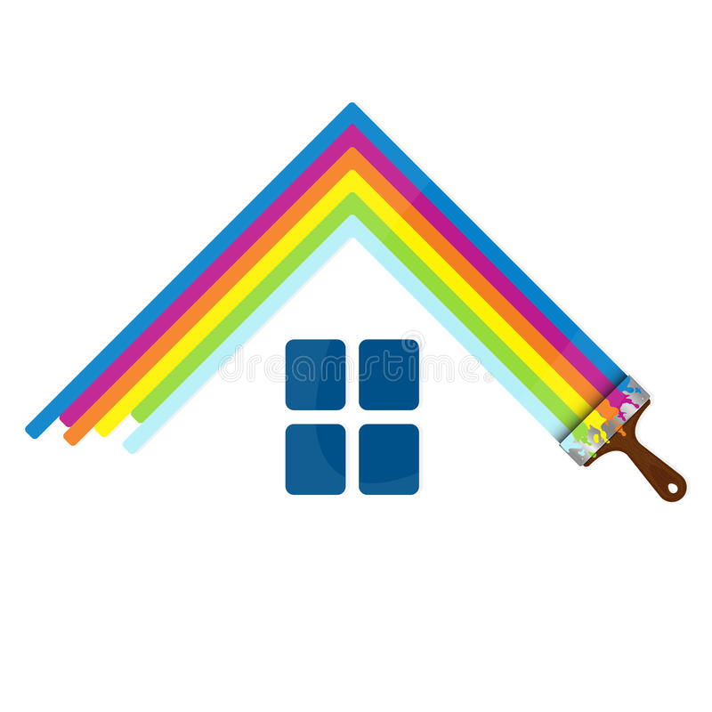 Het schilderen huisteken voor zaken stock illustratie