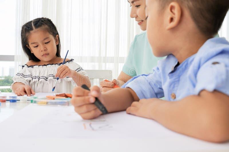 Het schilderen klasse stock foto