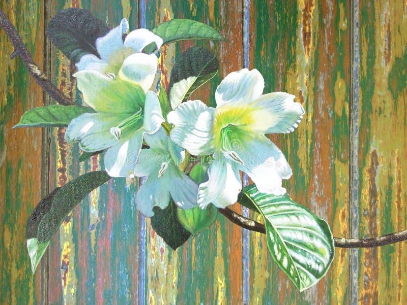 Het schilderen kondigt de olie witte kleur van trompetbloem aan royalty-vrije illustratie