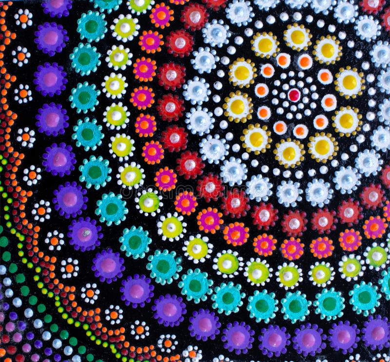 Het schilderen, mandala, verschillende heldere kleuren vector illustratie