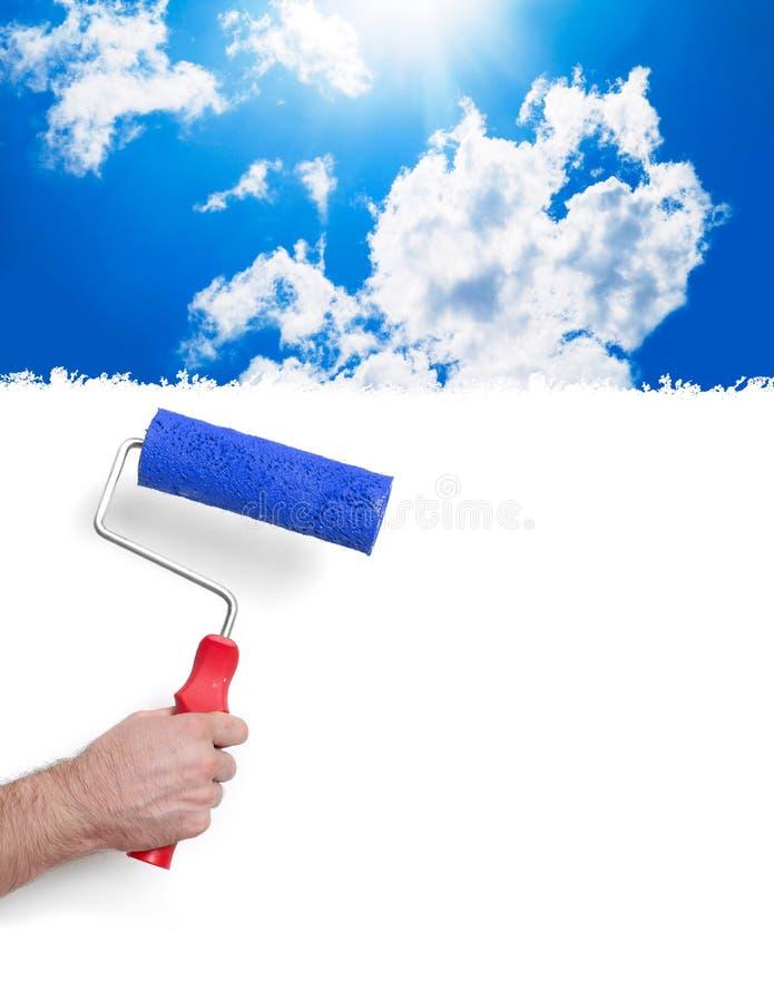Het schilderen met hemel stock foto