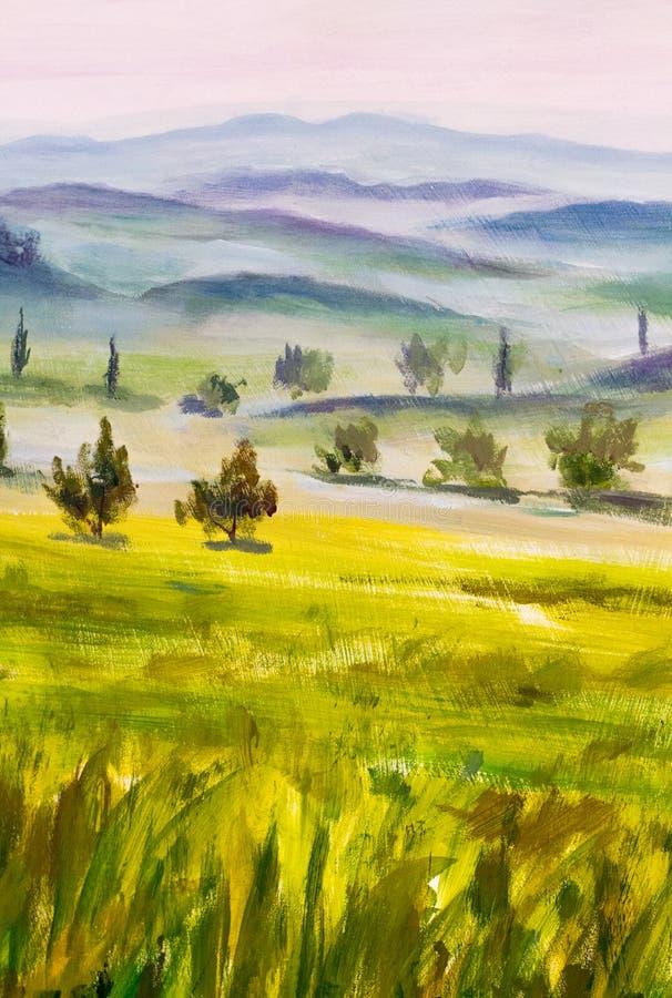 Het schilderen met het Italiaanse landschap van het land Typische Toscaanse heuvels met cipres en landbouwgrond Hand getrokken il royalty-vrije illustratie