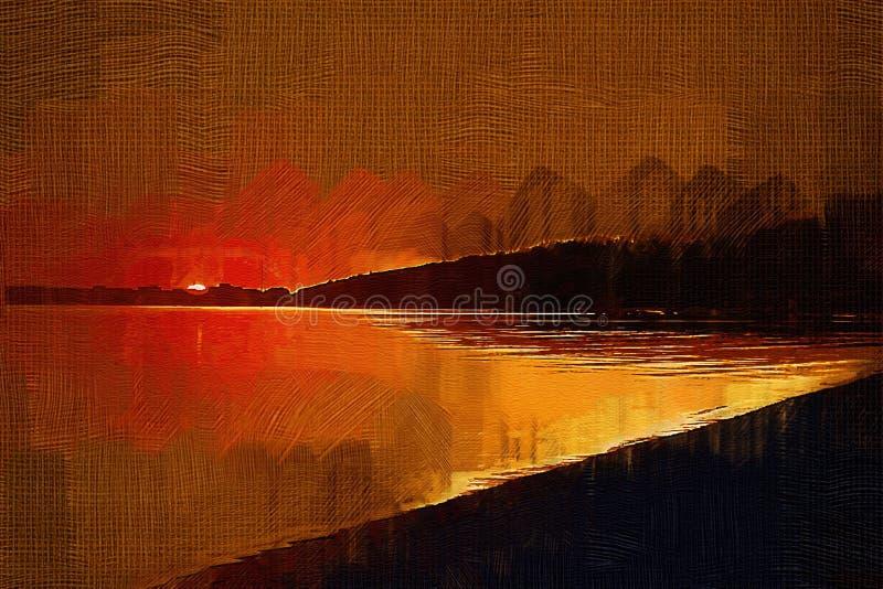 Het schilderen met olieeffect zonsondergang op de baai stock foto's