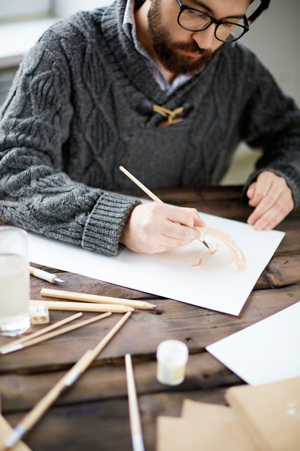 Het schilderen met waterverf stock afbeeldingen
