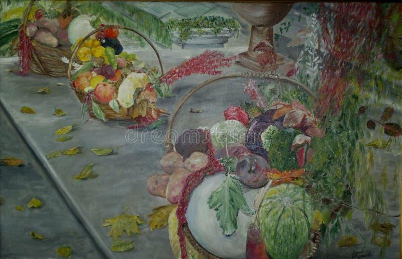 Het schilderen, olieverfschilderij 'de Herfstgiften ' stock afbeelding