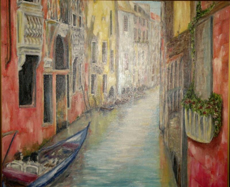 Het schilderen, olieverfschilderij de 'Straat van Venetië ' royalty-vrije stock afbeeldingen
