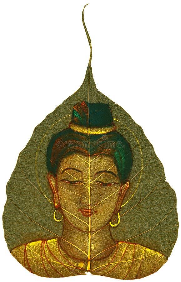 Het schilderen op Blad Peepal - Jonge Vrouw royalty-vrije illustratie