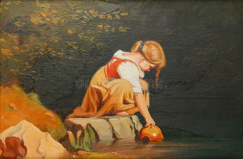 Het schilderen op canvas stock afbeelding