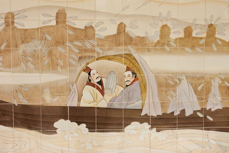 Het schilderen op Chinese kerk stock afbeeldingen