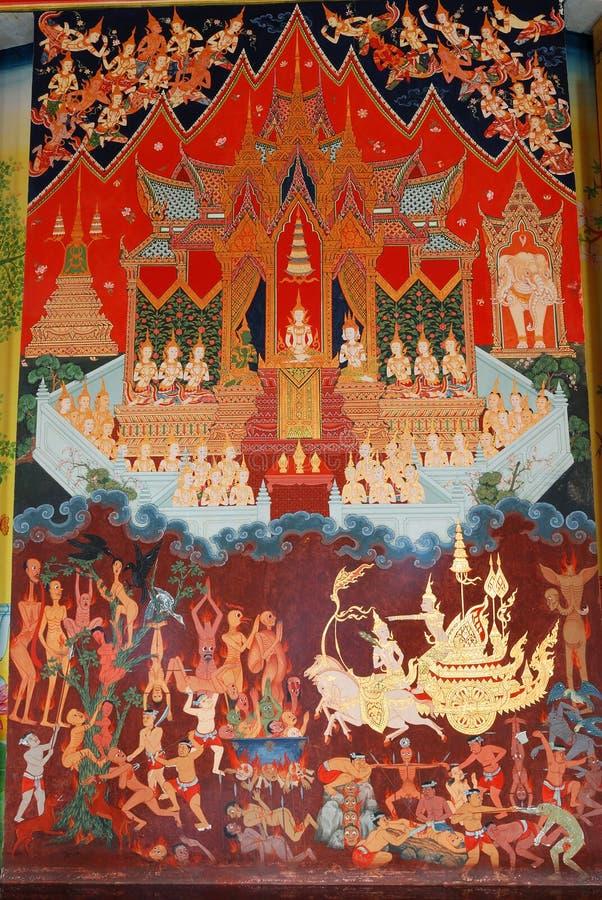 Het schilderen op de muur in de kerk stock afbeelding