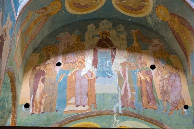 Het schilderen op de muur van de kathedraal royalty-vrije stock fotografie