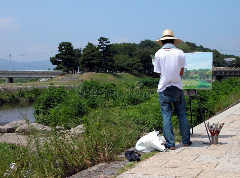 Het schilderen op de rivieroever royalty-vrije stock foto's