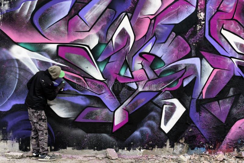 Het schilderen op de zwart en roze muur vector illustratie