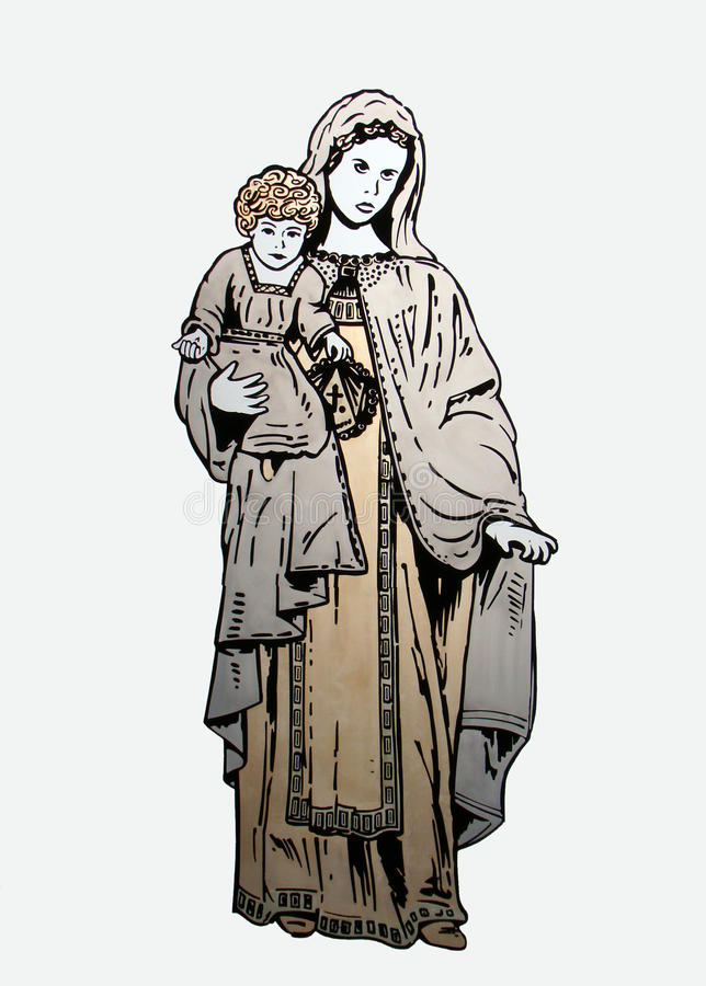 Het schilderen op glas - Maagdelijke Mary en weinig Jesus stock foto's