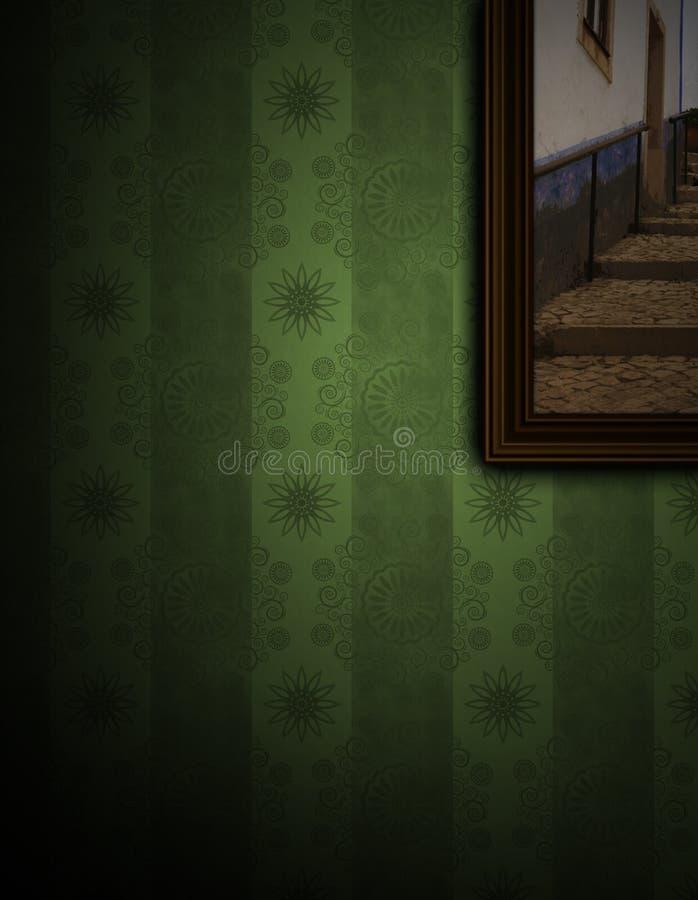 Het schilderen op groene muur royalty-vrije illustratie