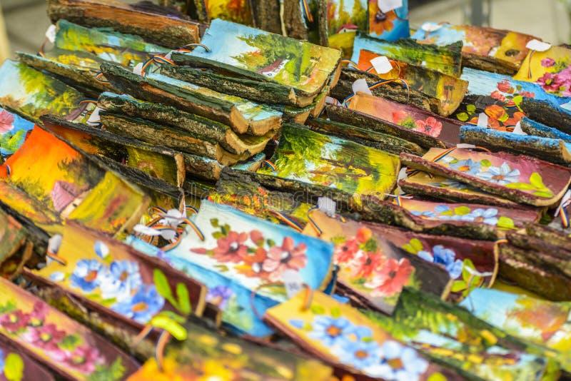 Het schilderen op hout stock fotografie