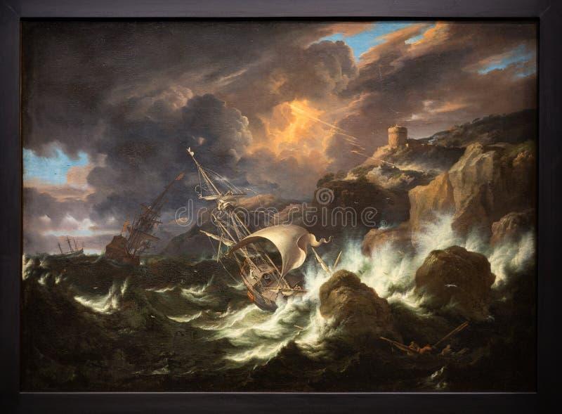 Het schilderen overzees onweer bij Louvrelens, Frankrijk stock fotografie