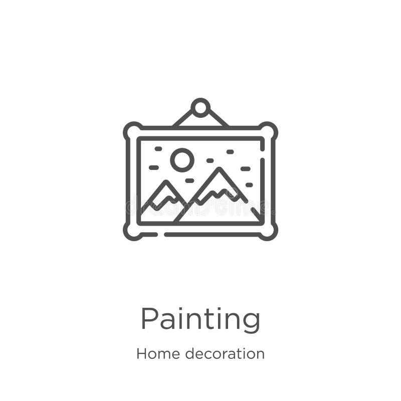 het schilderen pictogramvector van de inzameling van de huisdecoratie De dunne lijn het schilderen vectorillustratie van het over vector illustratie