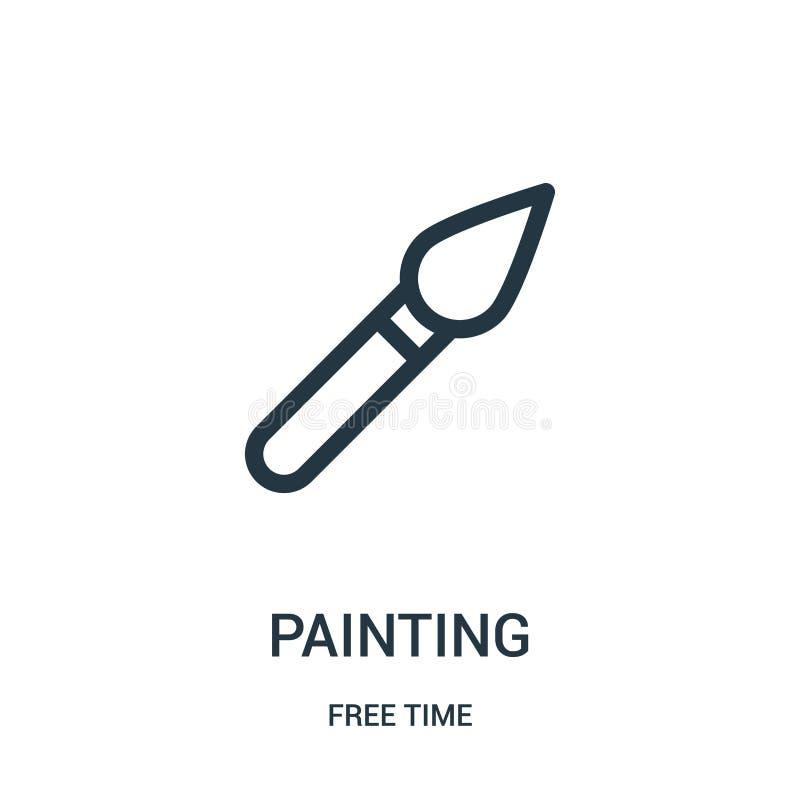 het schilderen pictogramvector van vrije tijdinzameling De dunne lijn het schilderen vectorillustratie van het overzichtspictogra royalty-vrije illustratie