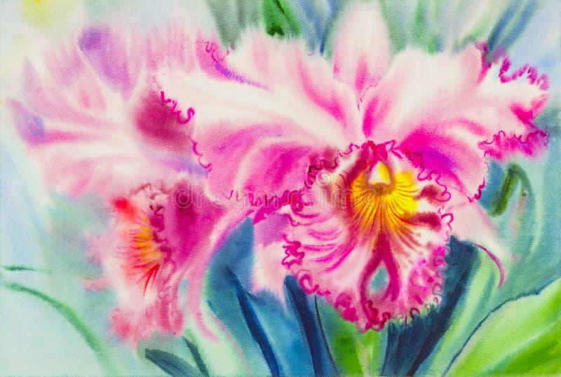 Het schilderen purpere, roze kleur van orchideebloem en groene bladeren vector illustratie