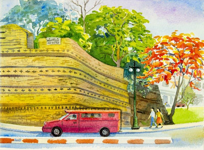 Het schilderen rode kleur van pauwbloem en rode auto royalty-vrije illustratie