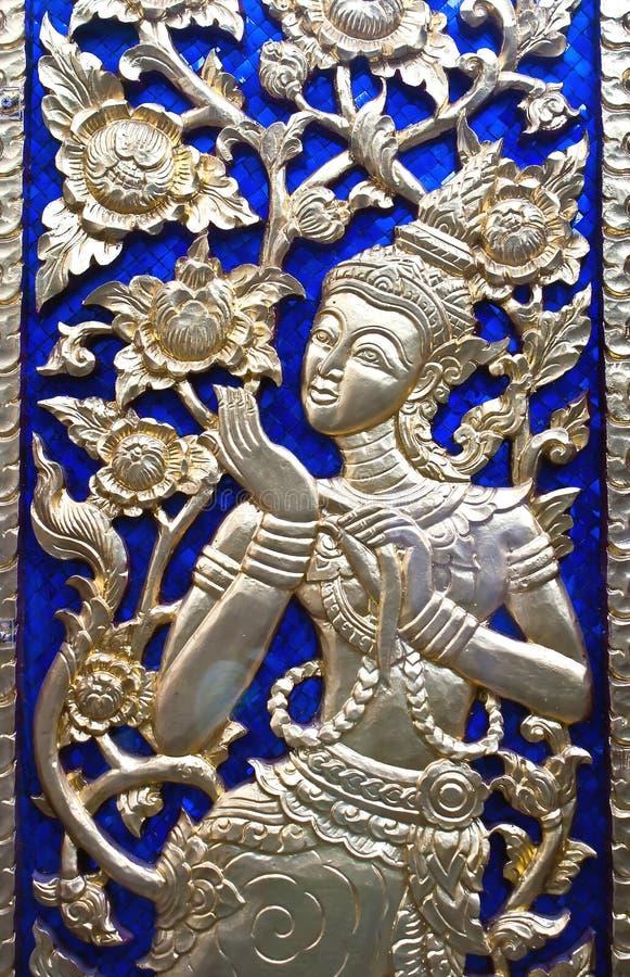 Het schilderen in traditionele Thaise stijl stock foto