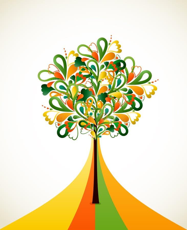 Het schilderen van abstracte boom op kleurrijke stroken. Vector stock illustratie