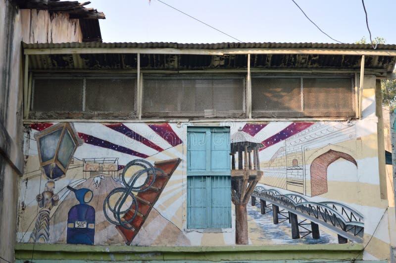 Het schilderen van Ahmedabad cultuur op enterancepoort van Pol. in Ahmedabad royalty-vrije stock fotografie